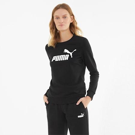 Essentials Logo Damen Sweatshirt mit Rundhalsausschnitt, Puma Black, small