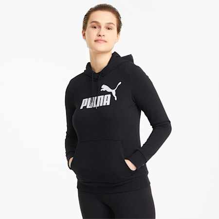 Essentials Logo Women's Hoodie, Puma Black, small