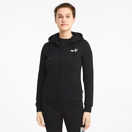 Essentials Full-Zip Women's Hoodie, Puma Black, small-GBR