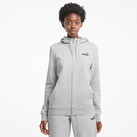 Essentials Full-Zip Women's Hoodie, Light Gray Heather, small-GBR