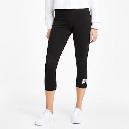 Essentials Logo Damen 3/4-Leggings, Puma Black, small