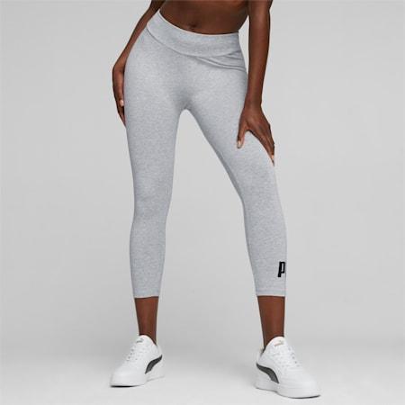 Leggings 3/4 con logo Essentials donna, Light Gray Heather, small