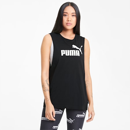 Essentials Logo Cut Off Women's Tank Top, Puma Black, small