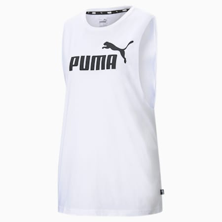 Essentials Logo Cut Off Women's Tank Top, Puma White, small