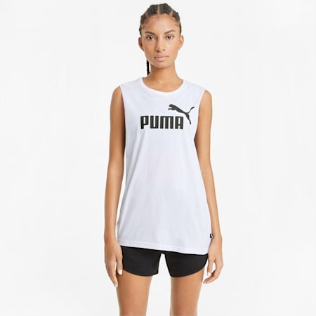Camiseta sin mangas para mujer Cut Off Essentials Logo, Puma White, small