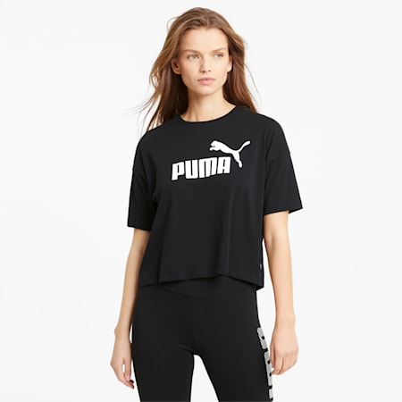 Essentials Logo Cropped Women's Tee, Puma Black, small