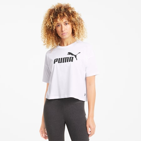 Essentials Logo Cropped Women's Tee, Puma White, small