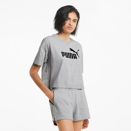 Essentials Logo cropped T-shirt dames, Light Gray Heather, small