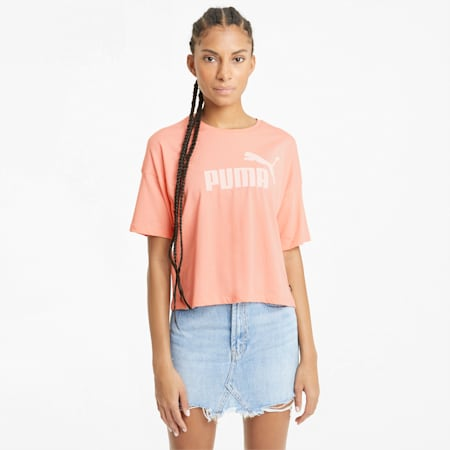 Essentials Logo Cropped Women's Tee, Apricot Blush, small-GBR