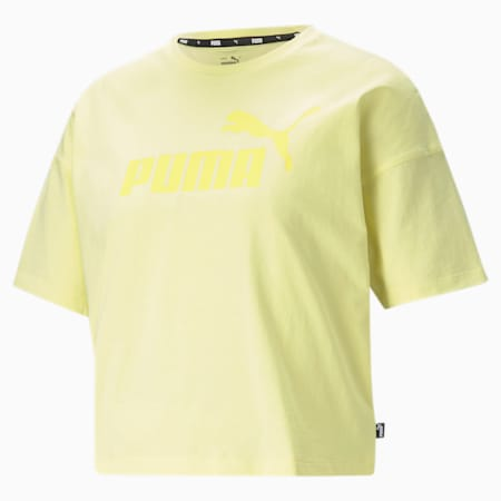 Essentials Logo Cropped Women's Tee, Yellow Pear, small-GBR