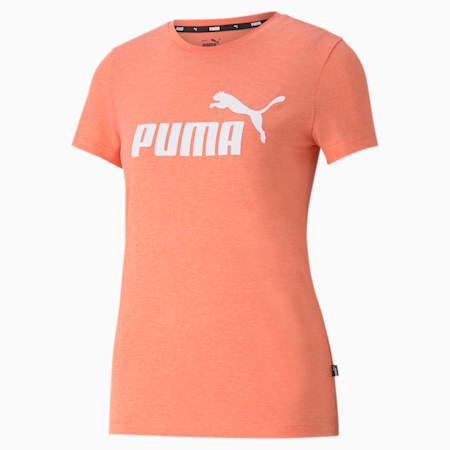 Camiseta jaspeada para mujer Essentials Logo, Georgia Peach Heather, small