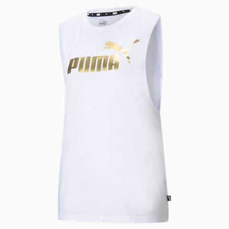 Essentials+ Cut-Off Metallic Women's Tank Top, Puma White-Silver, small-IND