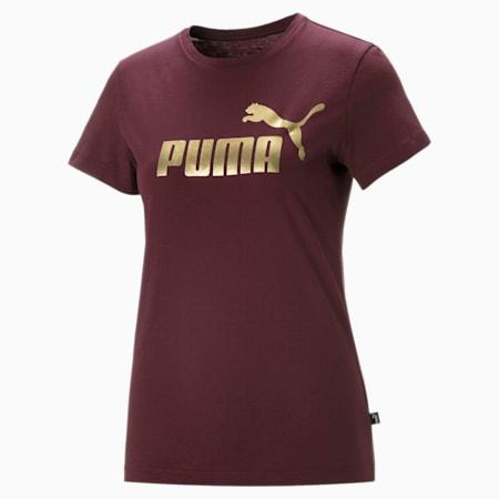 T-Shirt Essentials+ Metallic Logo pour femme, Burgundy-Gold, small