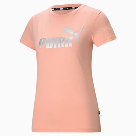 Essentials+ Metallic Logo Women's Tee, Apricot Blush-Silver, small-GBR