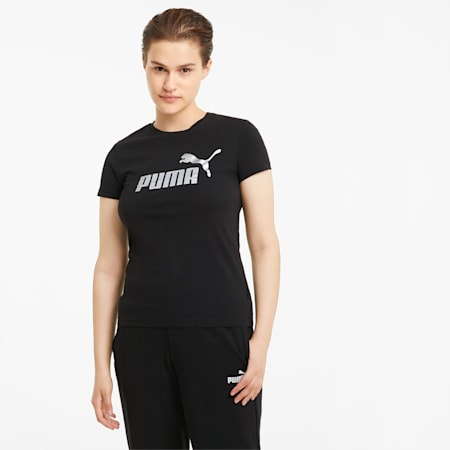 Essentials+ Metallic Logo Women's Tee, Puma Black-Silver, small-SEA