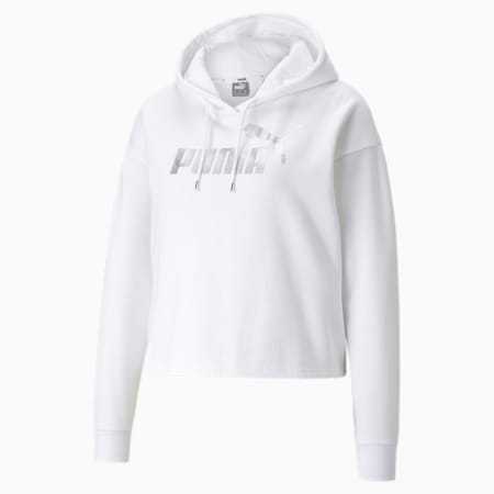Essentials+ Cropped Metallic Women's Hoodie, Puma White-Silver, small-GBR