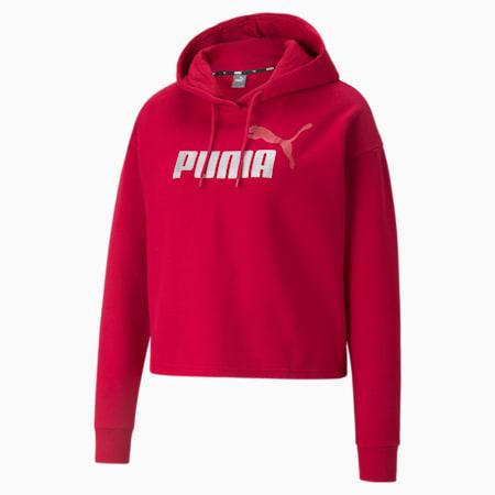 Sudadera corta con capucha Essentials+ para mujer, Persian Red-Silver, pequeño