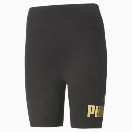 Essentials+ Metallic Women's Short Leggings, Puma Black-Gold, small