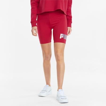 Essentials+ Metallic Women's Short Leggings, Persian Red-Gold, small
