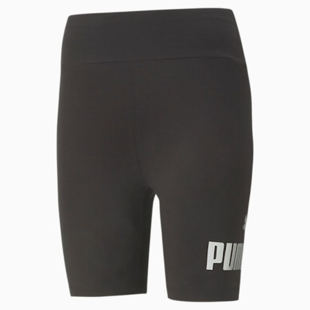 Damskie krótkie metaliczne legginsy Essentials+, Puma Black-Silver, small