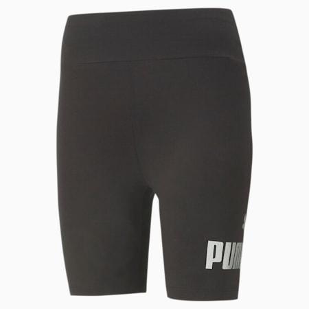 Essentials+ Metallic Women's Short Leggings, Puma Black-Silver, small-GBR