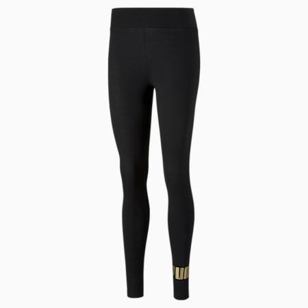 Essentials+ Metallic Women's Leggings, Puma Black-Gold, small-SEA