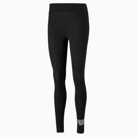 Leggings Essentials+ Metallic para mujer, Puma Black-Silver, pequeño