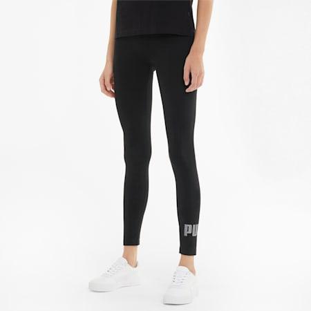 Essentials+ Metallic Women's Leggings, Puma Black-Silver, small-SEA