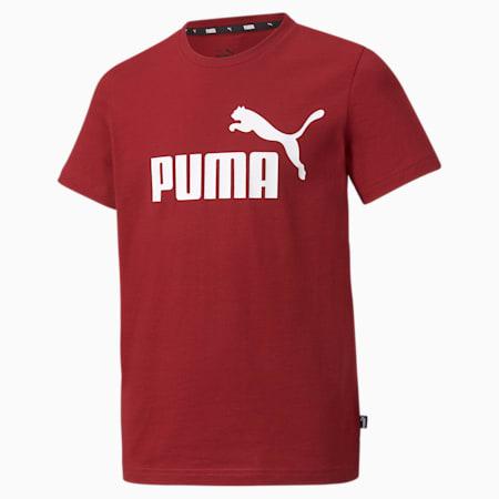 Essentials T-shirt met logo jongeren, Intense Red, small