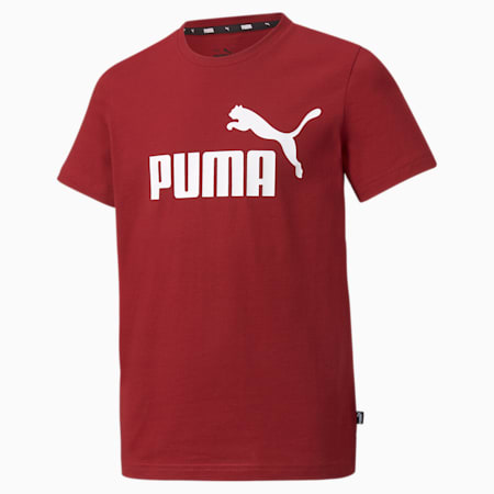 Młodzieżowy T-shirt Essentials z logo, Intense Red, small