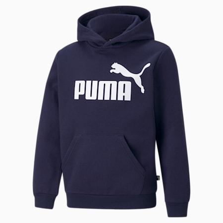 Essentials hoodie met groot logo jongeren, Peacoat, small