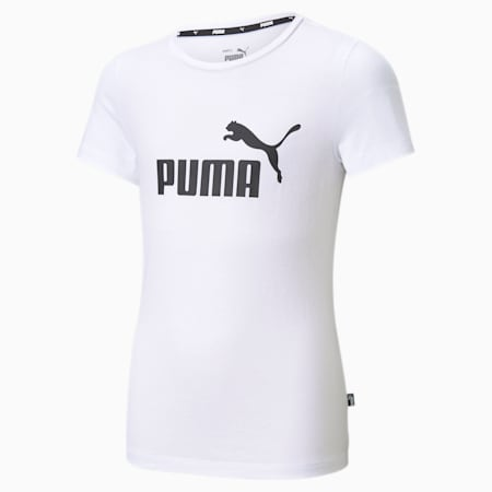 Młodzieżowy T-shirt Essentials z logo, Puma White, small