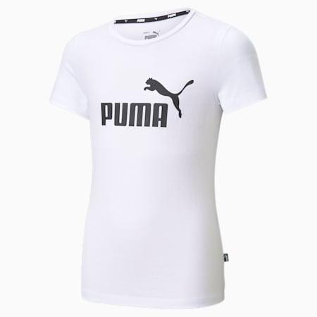 Essentials Logo Youth Tee, Puma White, small