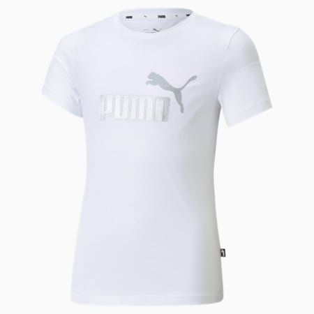 Camiseta con logo Essentials para niñas, Puma White, pequeño