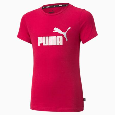 Camiseta con logo Essentials para niñas, Persian Red, pequeño