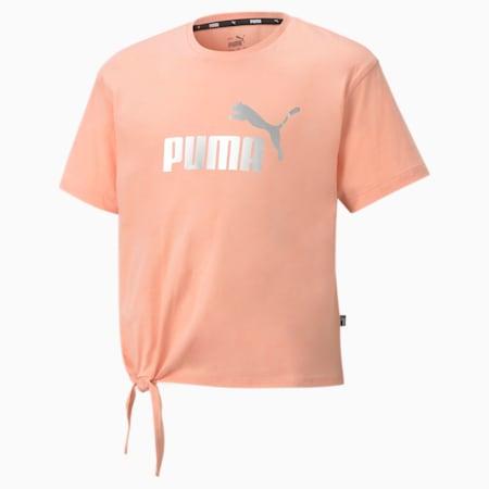 Młodzieżowy T-shirt Essentials+ Silhouette z logo, Apricot Blush, small