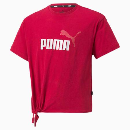 Młodzieżowy T-shirt Essentials+ Silhouette z logo, Persian Red, small