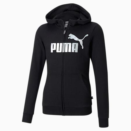 Essentials+ Logo Full-Zip Youth Hoodie, Puma Black, small