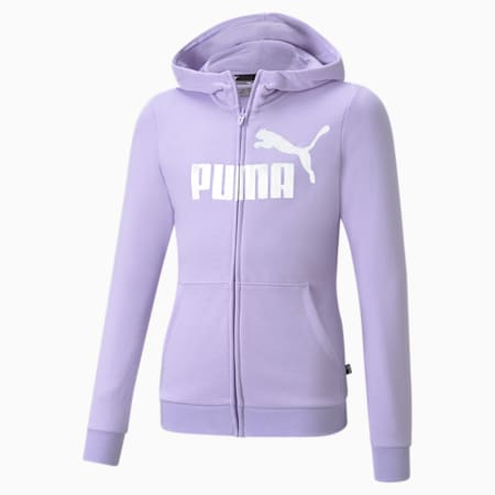 Essentials+ Logo Full-Zip Youth Hoodie, Light Lavender, small-GBR