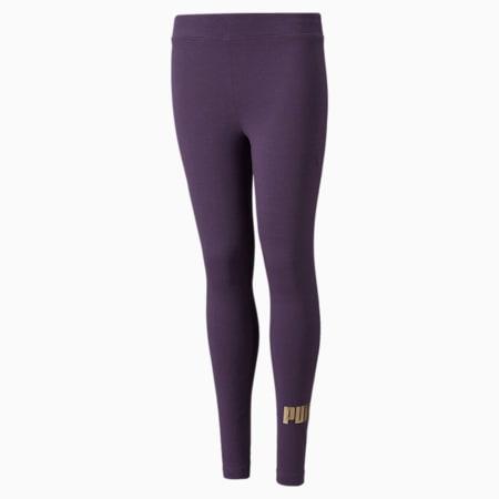 Młodzieżowe legginsy Essentials+ z logo, Sweet Grape-Gold, small
