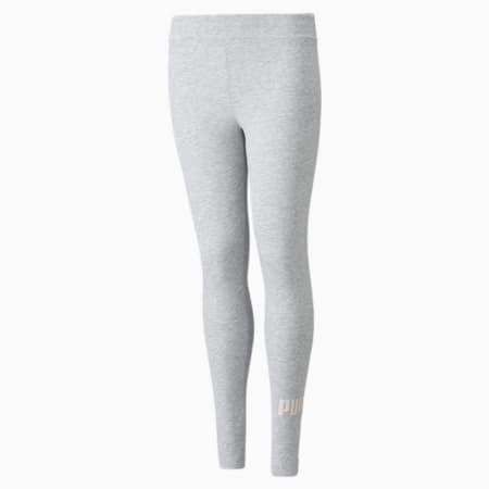Leggings con logo Essentials+ para niña, Light Gray Heather-dots/silv, pequeño