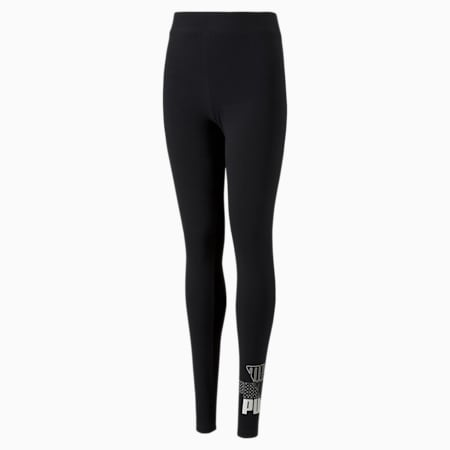 Graphic Youth Leggings, Puma Black, small-GBR