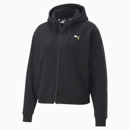 Metallic Nights Full-Zip Hooded Women's Jacket, Cotton Black, small-SEA