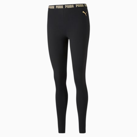 Metallic Nights Women's Leggings, Cotton Black-gold, small-SEA