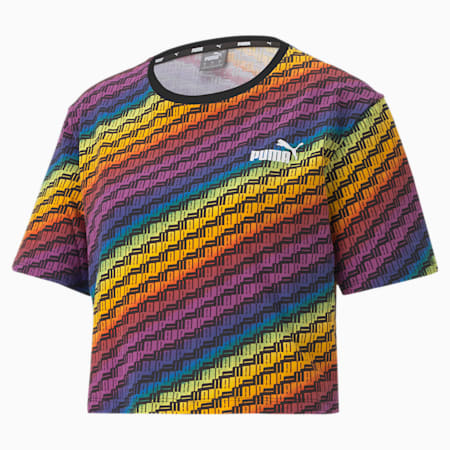 Pride T-shirt met all-over print voor dames, Puma White-multi AOP, small