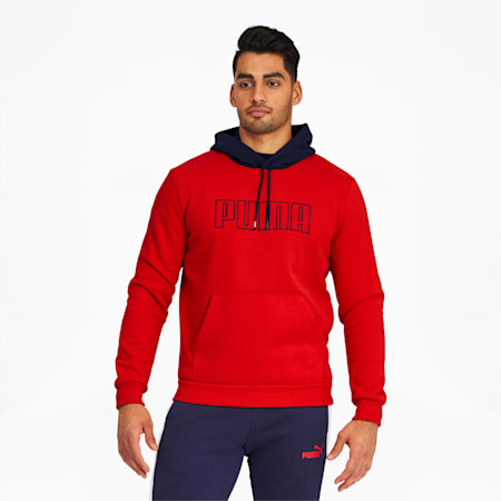 PUMA Block Men's Embroidered Hoodie, High Risk Red, small