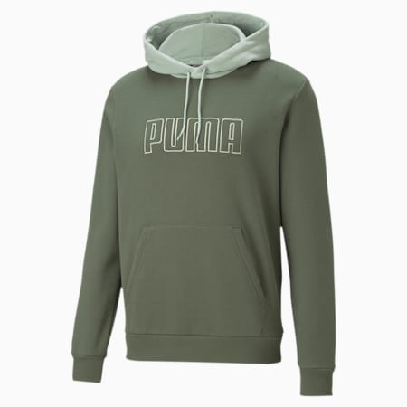 PUMA Block Men's Embroidered Hoodie, Thyme, small