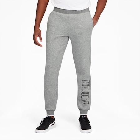 PUMA Block Men's Embroidered Sweatpants, Medium Gray Heather, small