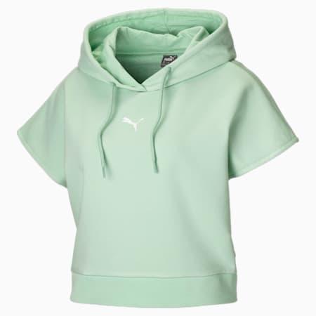 Damska bluza z kapturem i krótkim rękawem, Mist Green, small