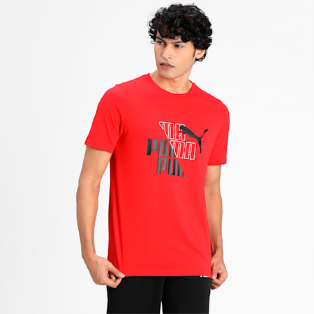 Graphic Men's  T-shirt, High Risk Red, small-IND